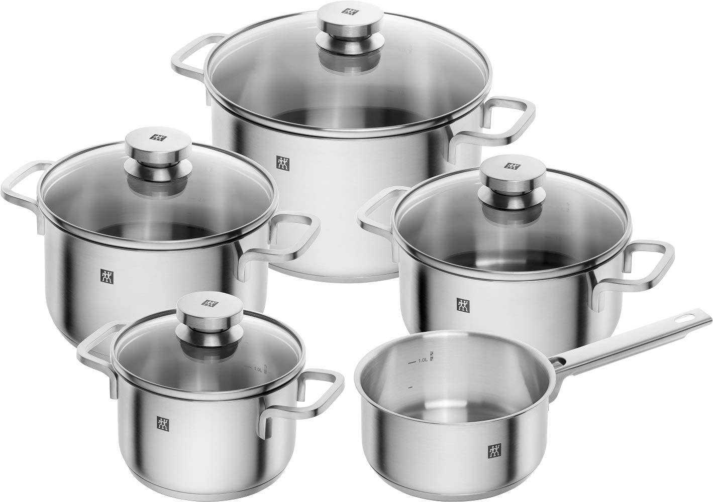 Zwilling Focus 66670-000-0 5-Piece Saucepan Set Glass Lids Suitable for Induction Cookers Rust-Free 18/10 Stainless Steel