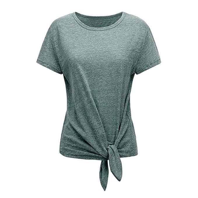 Damen T-Shirt, Frauen Sommer Rundhals Basic Weitere Farben lässige Crop  Tops Oberteile Bluse 06784bbe46