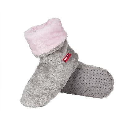 c81900fc5d2 Ladies Girls Grey   Pink Super Soft Plush Fleece Button Back Cuff Hi Top  Slipper