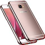 Galaxy C9 Pro Case, Starhemei Slim Concise Transparent TPU Soft Shell Ultra thin Flexibility Bumper Rubber Case Cover For Samsung Galaxy C9 Pro (Rose Gold plating TPU)