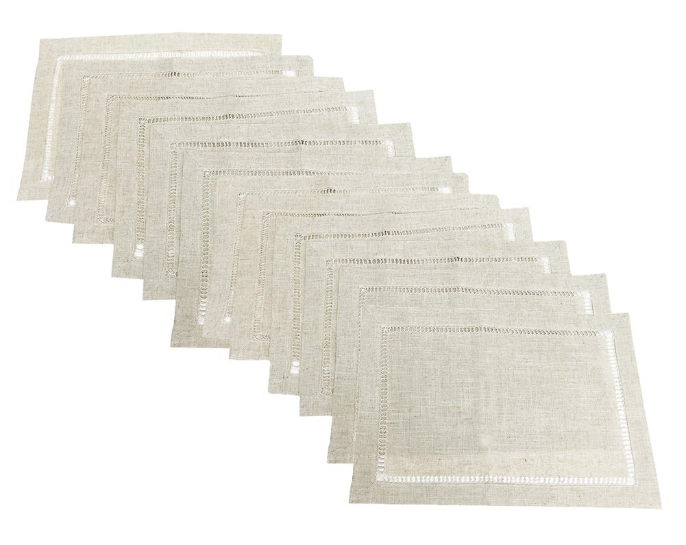 Fennco Styles Linen Blend Hemstitch Natural Placemat Set - 12 Pack - Add an element of abstract design to your dining room or kitchen decor with the Fennco Styles handmade hemsititch tablecloth. Constructed from80 percent polyester and 20 percent soft linen, this hemstitched,oblong tablecloth combines durability with softness. The natural color tone is sure to fit in well with your existing decor. This Fennco Styles classic hemstitched topper is perfect for everyday entertaining with a subtle style. Various sizes available to choose from - placemats, kitchen-dining-room-table-linens, kitchen-dining-room - 61LR0dJ2AmL -