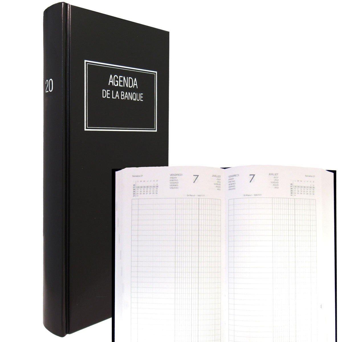 LECAS - 1 Agenda de Banque Long Prestige Noir - Année 2019 - 15 x 34 cm