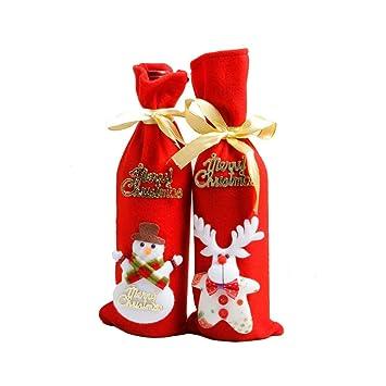 JUNMAONO 4 Piezas Cubierta De Vino De Navidad, Navidad Bolsa De Vino Tinto Botella,
