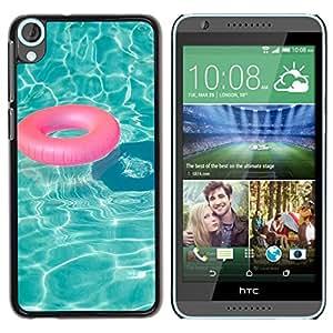 FlareStar Colour Printing Pool Teal Water Lifesaver Summer Relax cáscara Funda Case Caso de plástico para HTC Desire 820