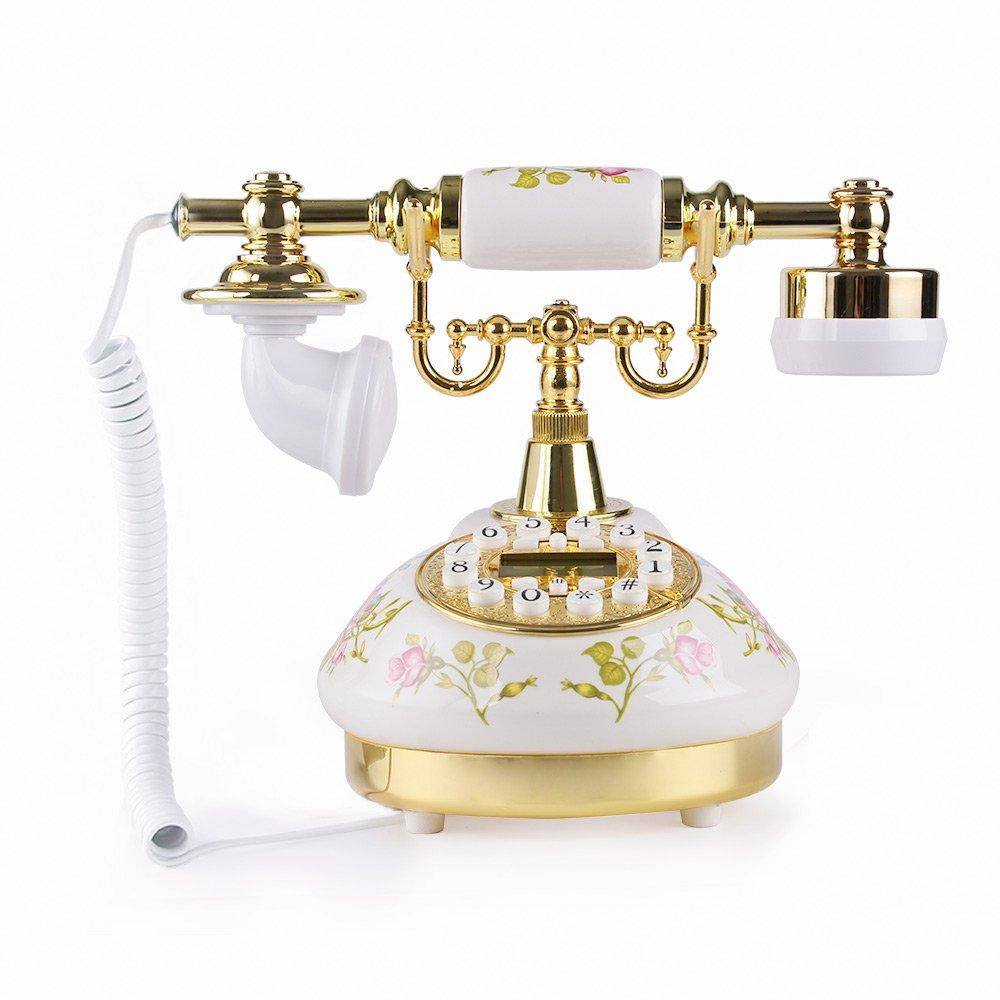 White Rose Flower Ceramic LNC Retro Vintage Antique Style Rural Push Button  phone