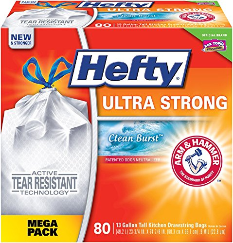 Hefty Ultra Strong Trash Bags (Clean Burst, Tall Kitchen Drawstring, 13 Gallon, 80 Count) – Fits All Simplehuman Size J Cans