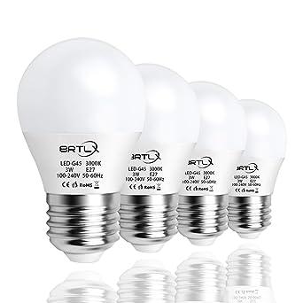 Bombilla LED Esférica E27 3 W, Equivalencia de 25 W, Blanco Cálido 3000K, 240 Lúmenes, No Regulable, Pack de 4 Unidades