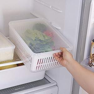 Refrigerator Organizer Box,Multifunction Kitchen、Refrigerator Storage Box、Drain Box,Large Capacity Transparent Food Box,Vegetable and Fruit Storage Sealed Box (White, 30x22x13cm)