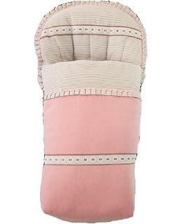 Saco funda de silla de paseo en paño rosa, pique de raya camel y detalle de pasacintas y piquillos en camel. Fabricado en…
