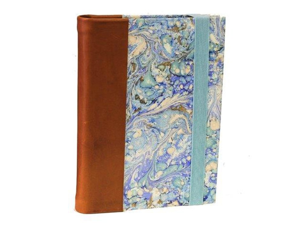 il Torchio - Refillable notebook in leather and hand-marbled paper