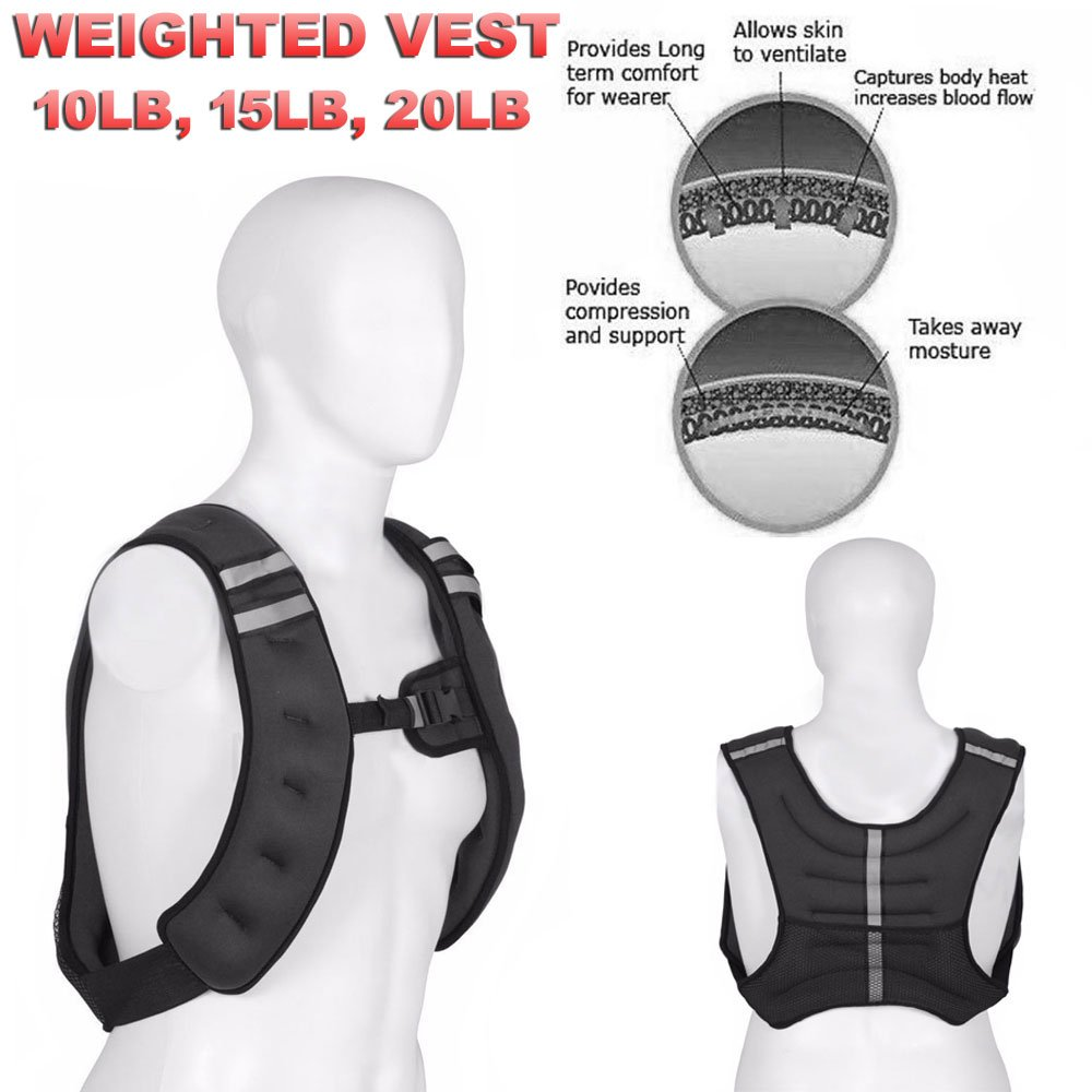 FITNESS MANIAC Weighted Vest Jacket Adjustable Training Fitness Workout Strength Weight Exercise 10lbs, 15lbs, 20lbs Workout Crossfit Running Gym Weight (Black - 15lbs)