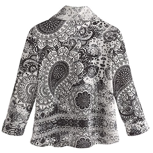 Women's Jacket - Black And White Medallion Printed One Button Cardigan - 1X