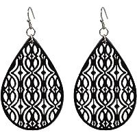 Geometric Hollow out Ethnic Water Drop Dangle Women Earrings Retro Boho Teardrop Jewellery (Black)