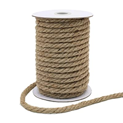 Vivifying 50 Feet 10mm Jute Rope, Natural Heavy Duty Twine for Crafts, Cat Scratch Post, Bundling (Brown): Garden & Outdoor