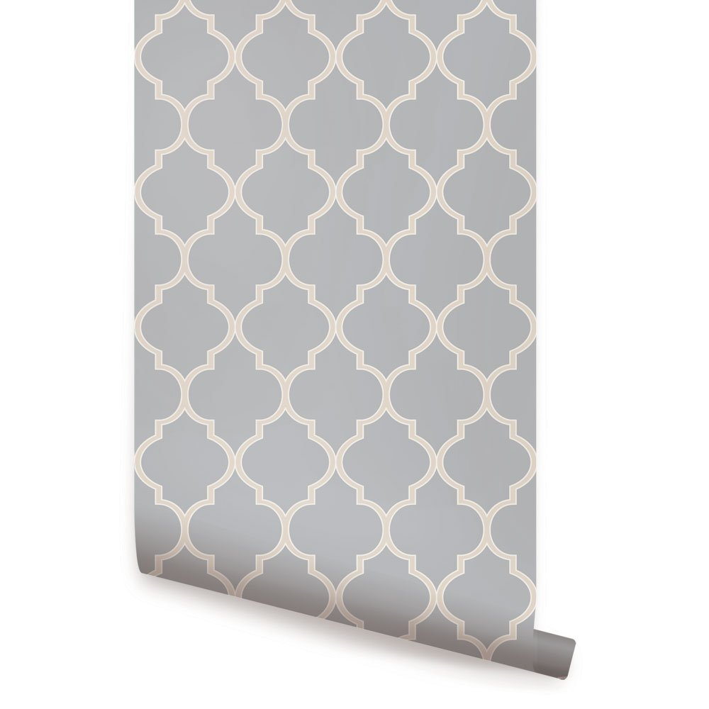 Moroccan Wallpaper - Cool Light Grey - 2 ft x 9 ft - 6pk - by Simple Shapes