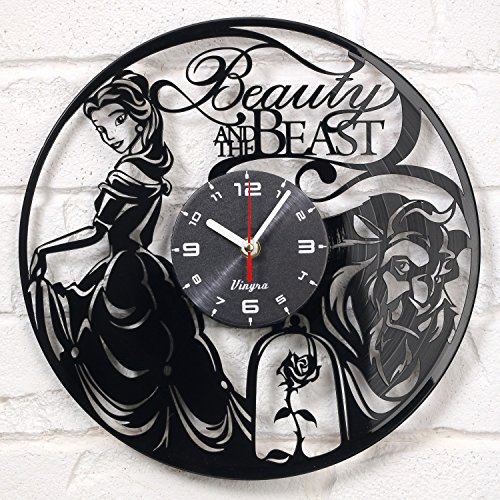 Cheap Beauty and The Beast Vinyl Wall Clock Disney Vinyl Art Kids Room Decor Home Decorations Lovely Black Record Vinyl Clock Gift for Girls and Boys Vintage Wall Decoration Unique Art Design Black