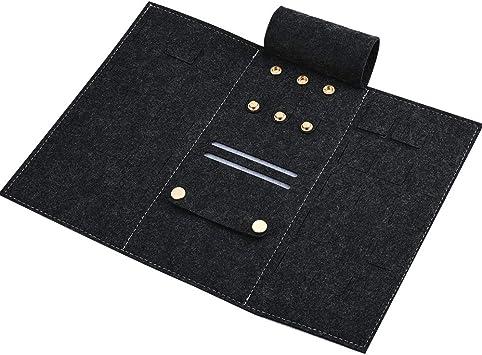 INSOUR - Organizador de joyas de viaje, estuche para joyas, rollo de joyas, de viaje para pendientes, collares, anillos, etc.: Amazon.es: Equipaje