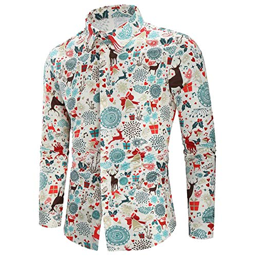 (Toimothcn Men Clothing, Men's Santa Claus Party Ugly Christmas Tree Print Button Down Shirts (WhiteB,L))