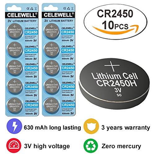 CELEWELL 10pcs Bulk CR2450 3V Lithium Battery for Candles Remotes( not CR2450N ) Exp 2020
