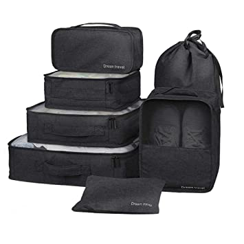 1 Ropa de ba/ño 7 Set de Organizador de Equipaje-3 Cajas de Cubos 1 Saco de Zapatos(Black) 2 Pouches