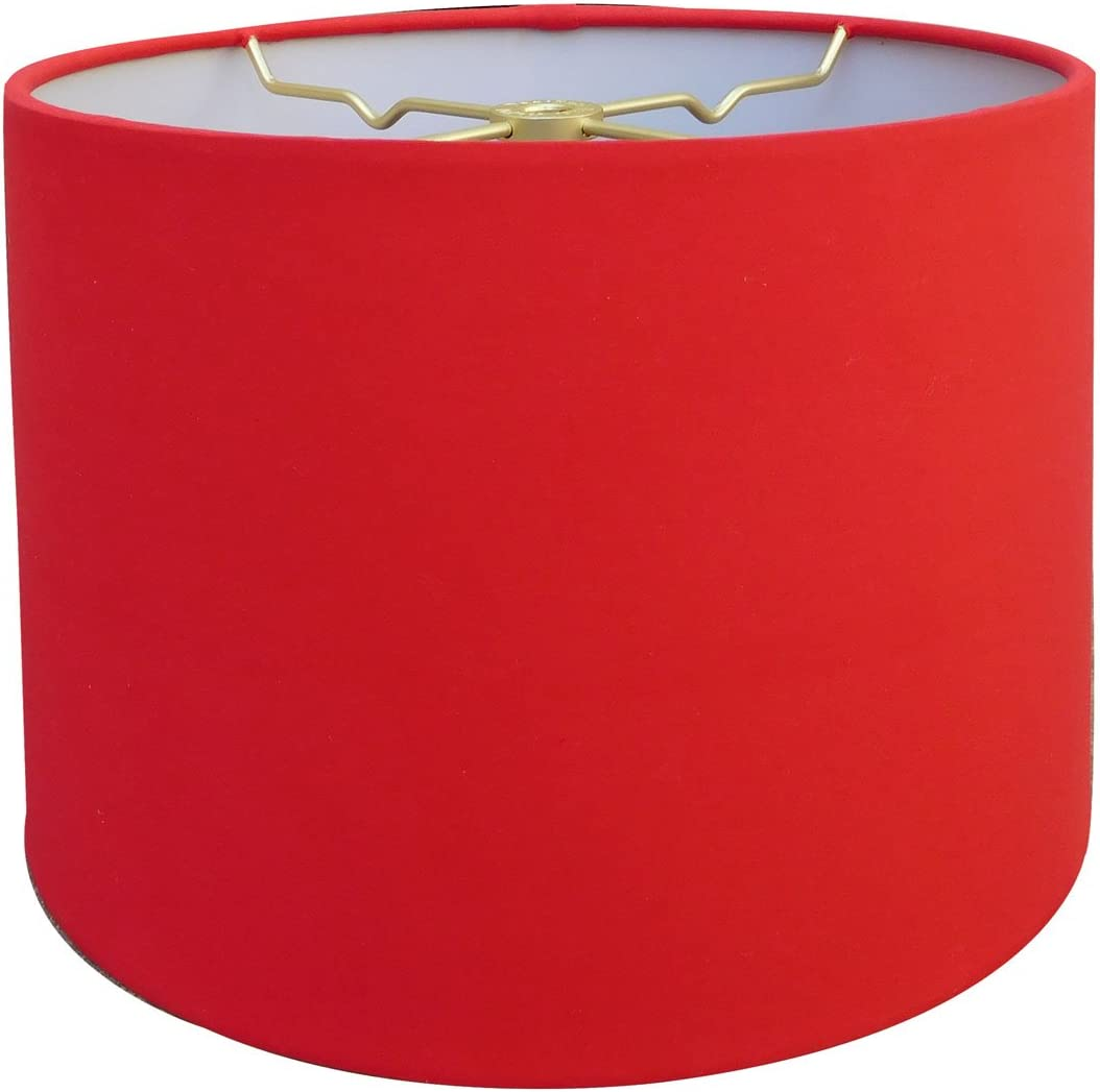Royal Designs Red Shallow Drum Hardback Lamp Shade, 17 x 18 x 11.5