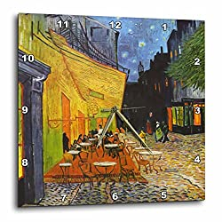 3dRose dpp_155653_3 Cafe Terrace at Night by Vincent Van Gogh-1888-Restaurant French Street Painting-Coffeehouse-Wall Clock, 15 by 15-Inch