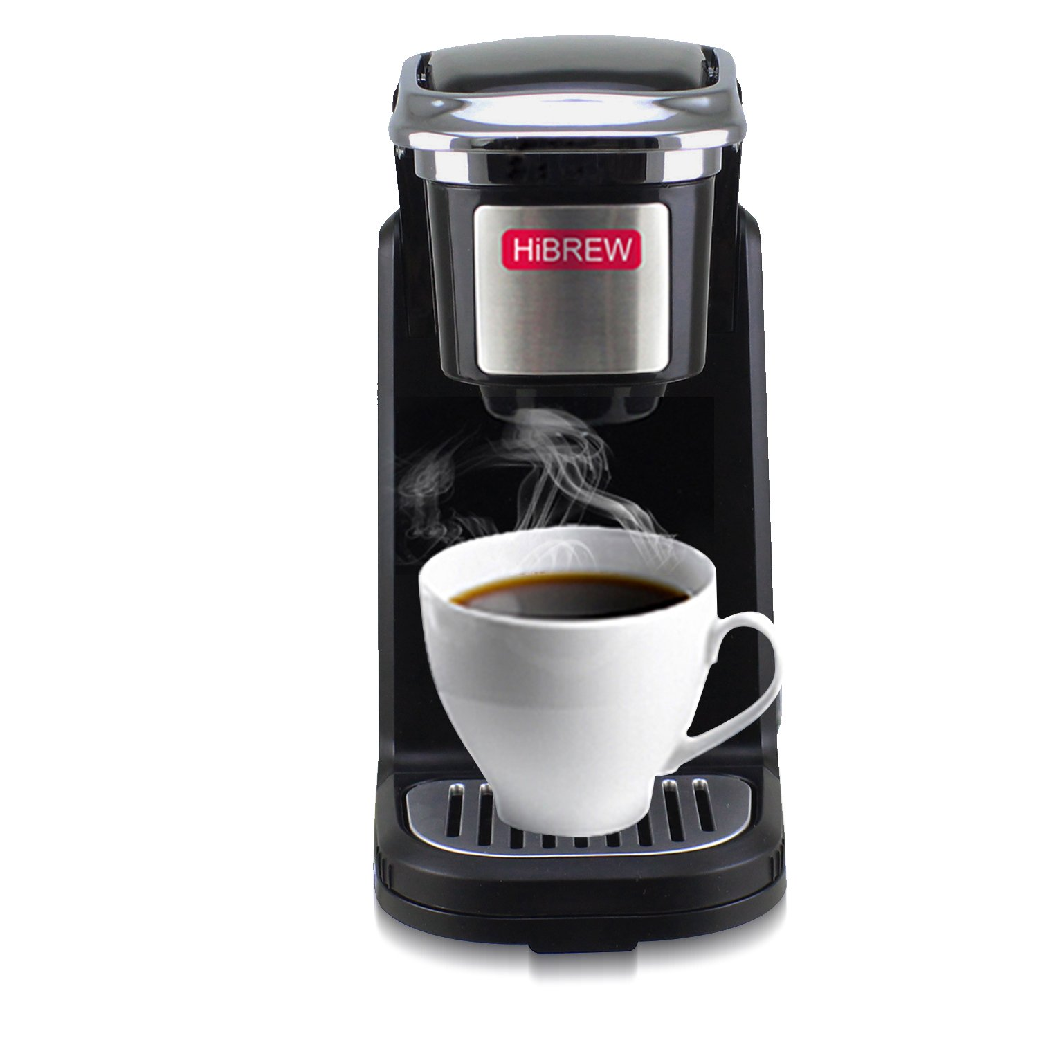 HiBREW Single Serve Black Compact Portable Travel Size Single Cup Coffee Maker Brewing System Coffee Machine for Office, Travel Camping and Hotel Dorm Hospitality (Black)