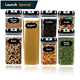 Food Storage Containers with Lids - by Simple Gourmet. 7-Piece Set of BPA Free Air Tight Food Containers for Pantry Organization and Storage. Includes BONUS 16 Free Labels to Identify Contents…