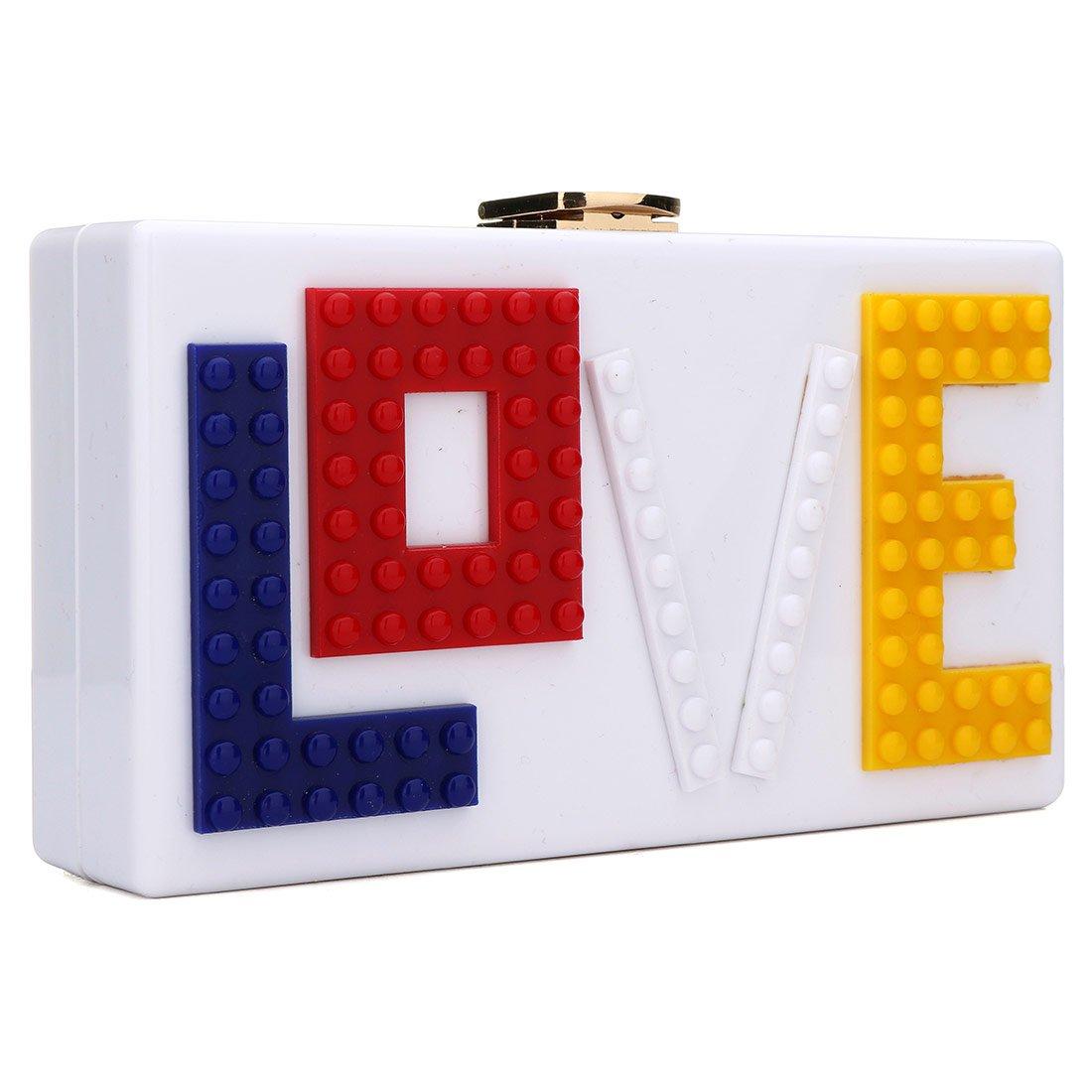 KNUS Love Acrylic Clutch Evening Bag Purse Handbag for Women Ladies Ideal Gift (White)
