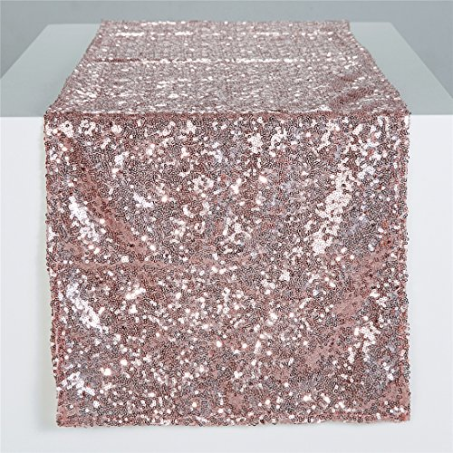 """Zdada Christmas Eve Rose Gold Sequin Table Runner Sparkly Table Linens-12""""x120"""""""