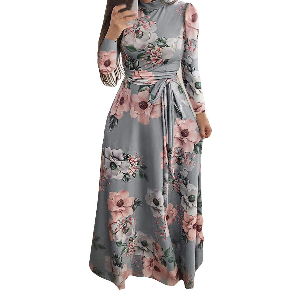 GIFC Fashion Womens Boho Maxi Dress, Ladies Holiday Casual Round Neck Long Sleeve Long Dress