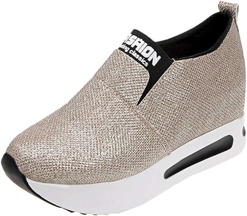Chaussures Femme LEvifun Chaussures de Sport Femme Running Fitness Sneaker Femme Compensees Paillettes Chaussure Femme Respirante Slip-on Cheville Chaussures de Marche Femme Imperm/éable Bottines