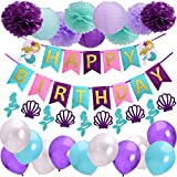 Mermaid Birthday Party Decorations Kit Happy Birthday Mermaid Banners Pom Poms And Paper Lanterns Balloons For Girl's Birthday Party And Baby Shower Mermaid Birthday Decorations Supplies