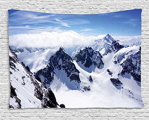 Ambesonne Winter Decor Tapestry, Snowy Mountain Peaks Tops High Lands Northern Scenic Alps Panorama Valley, Wall Hanging for Bedroom Living Room Dorm, 60 W X 40 L Inches, White Blue