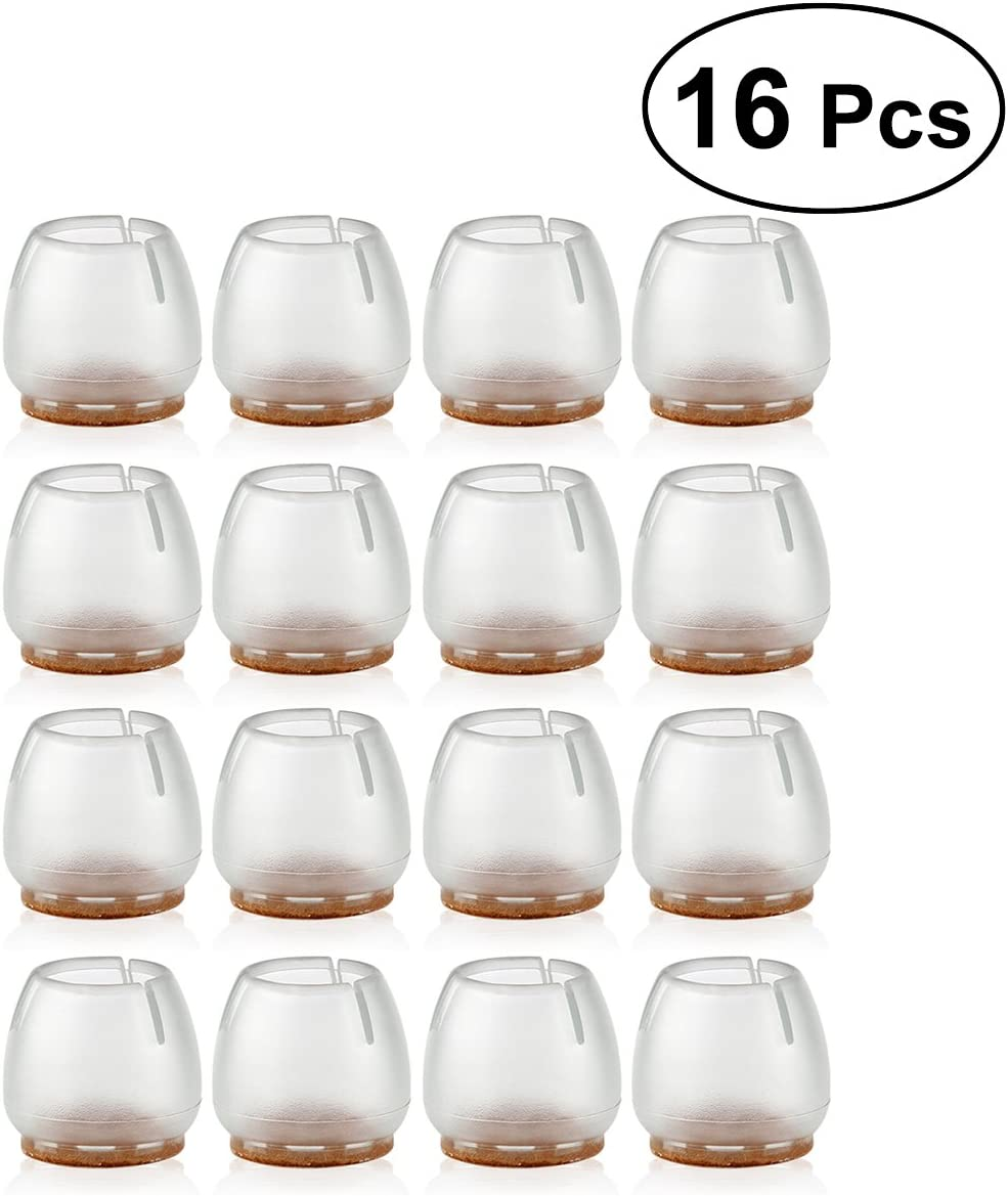 NUOLUX 16pcs Silikon Stuhl Bein Caps F/ü/ße Pads M/öbel Table Covers Boden Protektoren f/ür 25-29MM Runde Beine Transparent + braun
