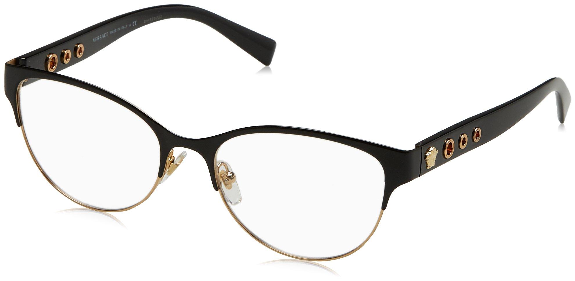 Versace Women's VE1237 Eyeglasses Black/Gold 53mm by Versace