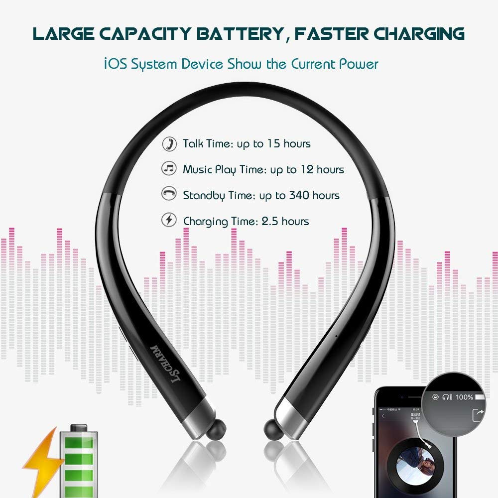 Bluetooth Headphones Retractable, LSCHARM Sport Wireless Stereo Neckband Headset Retractable Earbuds Noise Cancelling with Mic (Black)