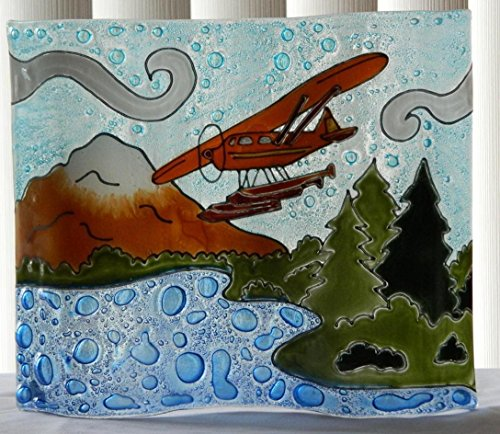 Float Plane Wavy Fused Art Glass On Vivid Blue Lake Lodge Decor Made In Ecuador