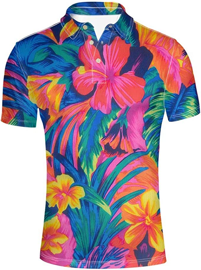 Mens Floral Print T-Shirts Short Sleeve Casual Tees Hawaiian Holiday Tops Summer
