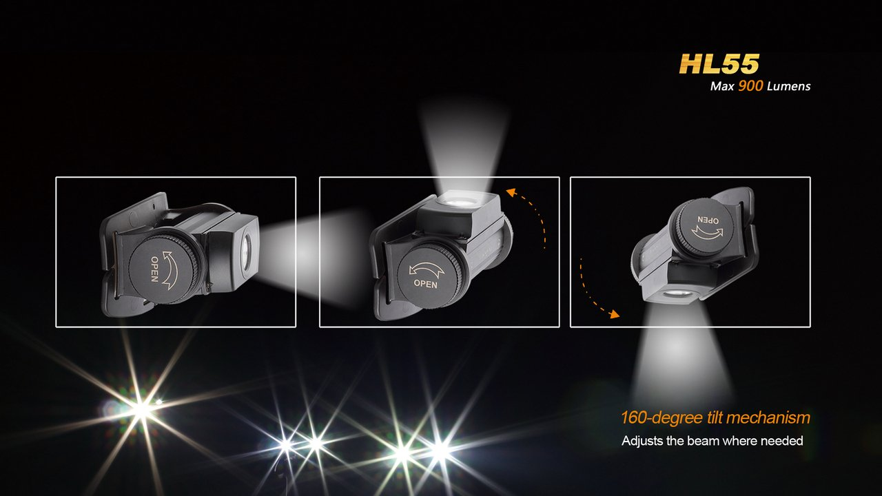 Fenix HL55 900 Lumen CREE XM-L2 T6 LED Headlamp with Fenix ARE-C2 four bays advanced digital battery charger, 2 X Fenix 18650 ARB-L2S 3400 mAh rechargeable batteries and two EdisonBright CR123A Lithium batteries by Fenix (Image #7)