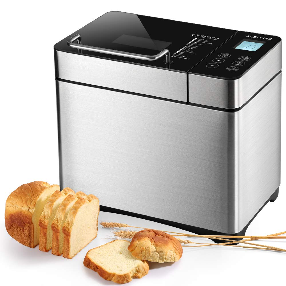 Bread Maker, ALBOHES 2.2LB Stainless Steel Bread Machines with Gluten Free Setting, Wi-Fi Connectivity, APP Control, Automatic Nut Dispenser, 17 Programmable Menu Settings, 3 Loaf Sizes 3 Crust Colors by ALBOHES
