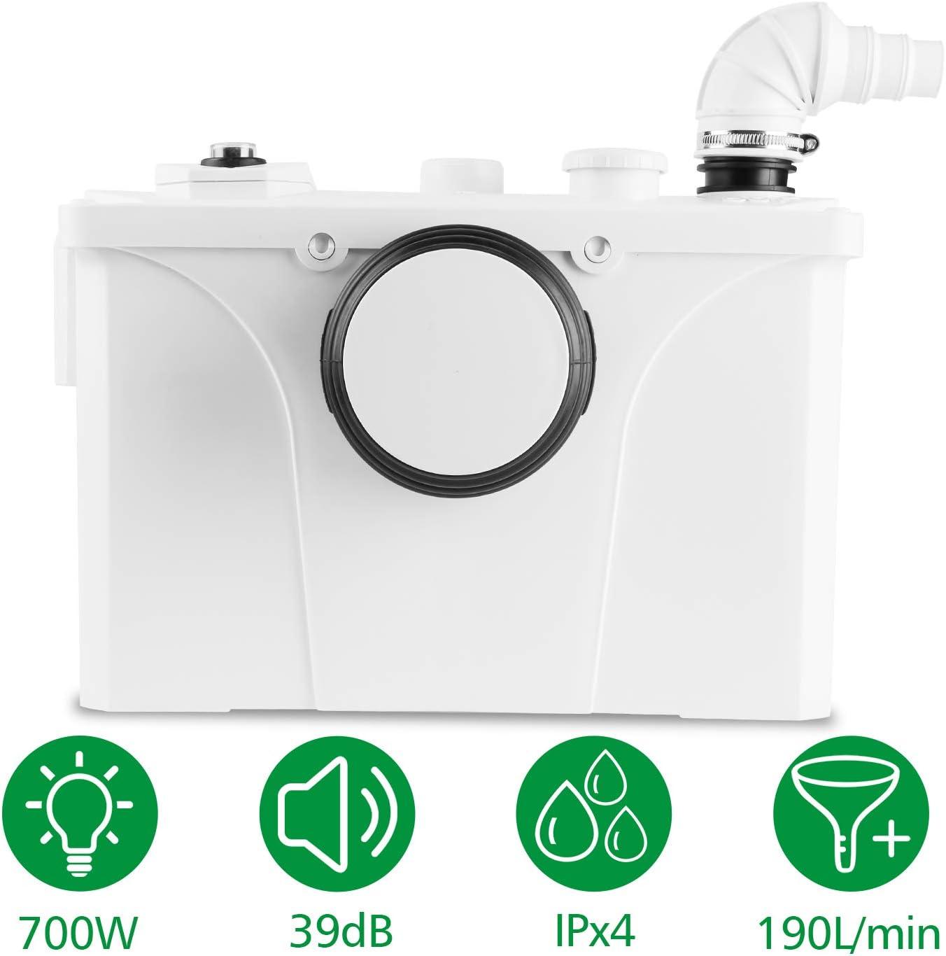 Hengda 4/1 Triturador Sistema De Elevación,700W 190L/min Bomba De Agua De Aguas Residuales WC Bomba Doméstica De Elevación De Aguas Residuales Inodoro