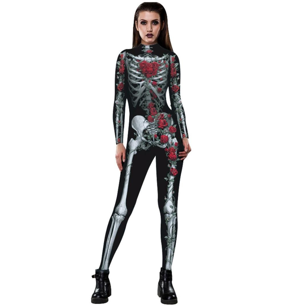 Lenfesh Damen Halloween Unheimlich Gespenstisch Bodycon Party Cosplay Kostüm Overalls