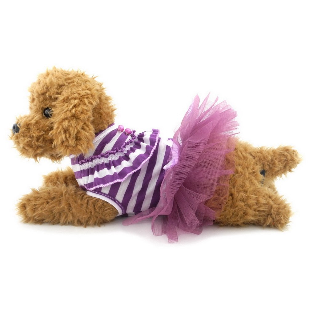 SELMAI Princess Small Dog Dress Striped Mesh Tutu Bow Summer Sundress Birthday Party Skirt Puppy Cat Doggie Clothes Outfits Apparel Purple XXL