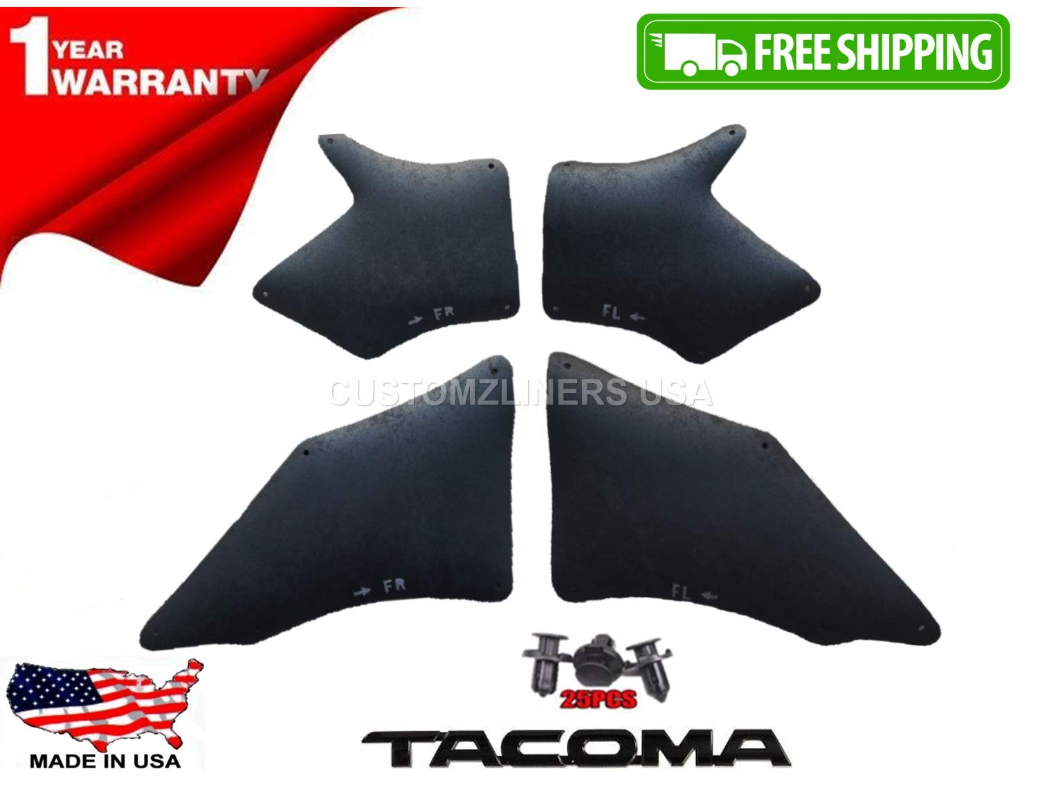 Splash Shield,Splash Guard, Skirt, Apron, Flaps, Fender Seal and Fender Liners for Toyota Tacoma 2005-2015 Retainer Clips