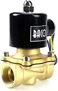 "BACOENG 3/4"" DC12V Electric Solenoid Valve (NPT, Brass, Normally Closed)"