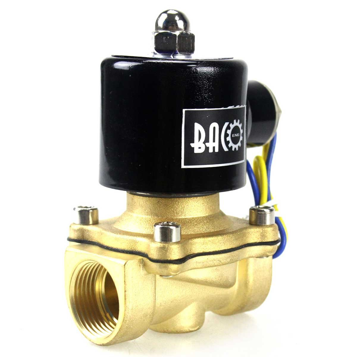 BACOENG 1' DC12V Electric Solenoid Valve (NPT, Brass, Normally Closed) Baco Engineering