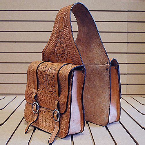 HILASON U Western Leather Cowboy Trail Ride Horse Saddle Bag 11 INCH X 10.5 INCH