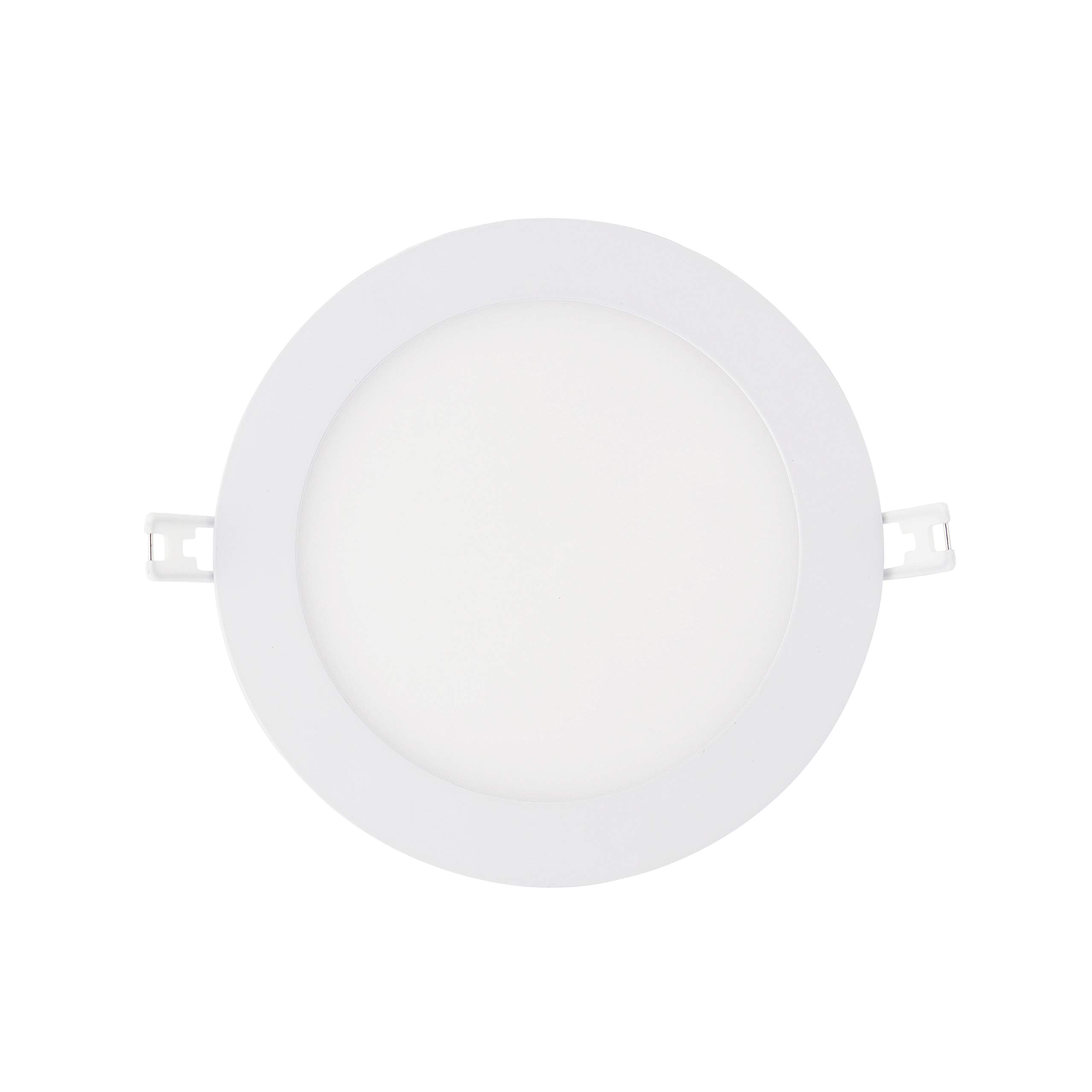 LED Recessed Light Fixture 6 inch Round with Driver, 3000K Soft White, 15W, 900 Lumens, 120V, Low Profile, Dimmable, Energy Star and IC Rated, White Trim, 1 Pack