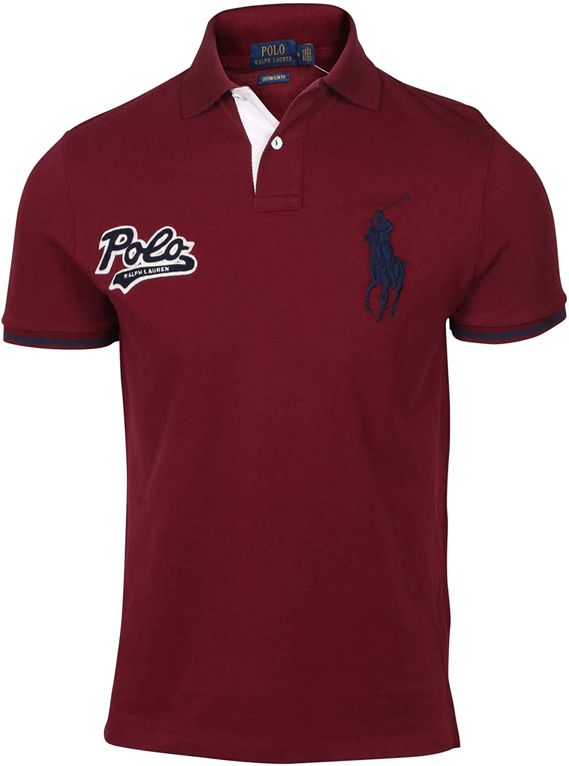 Polo Ralph Lauren Mens Custom Slim Fit Big Pony Polo Shirt (M, Red)